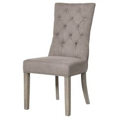 Pavilion Chic Button Back Dining Chair Huntley in Grey