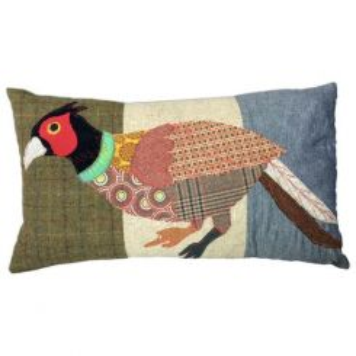 Carola Van Dyke Cushion Running Pheasant