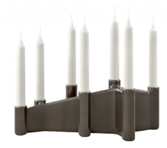 Calligaris Ceramic Candle Holder Cathedral in Grey Taupe