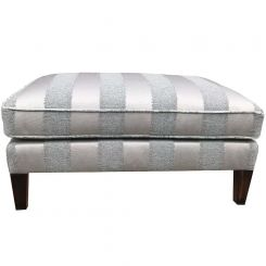 Duresta Clearance Footstool Chelsea in Porchester Stripe Blue Stone
