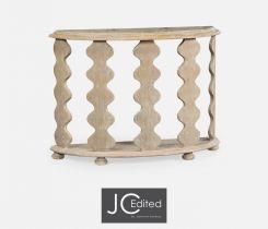 Jonathan Charles Demilune Console Table Eclectic with Marble Top