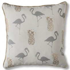 Pavilion Chic Cushion Flamingo & Pineapple Tropical in Grey