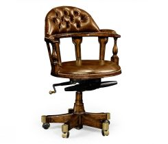 Jonathan Charles Desk Chair Captain Style in Walnut - Antique Chestnut Leather