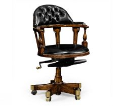 Jonathan Charles Desk Chair Captain Style in Walnut - Black Leather