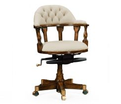 Jonathan Charles Desk Chair Captain Style in Walnut - Cream Leather