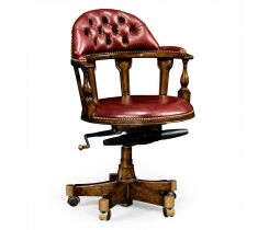 Jonathan Charles Desk Chair Captain Style in Walnut - Red Leather