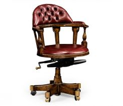 Jonathan Charles Desk Chair Captain Style in Walnut - Rich Red Leather
