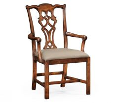 Jonathan Charles Dining Armchair Chippendale in Walnut