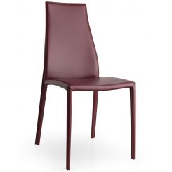 Calligaris Dining Chair Aida in Burgundy Leather