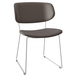 Calligaris Dining Chair Claire in Taupe Faux Leather