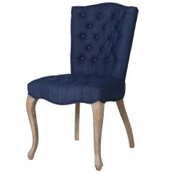 Pavilion Chic Dining Chair Huntley Upholstered in Blue Denim