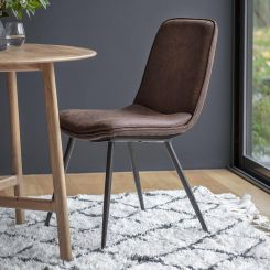 Pavilion Chic Dining Chair Painswick in Faux Brown Leather