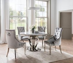 Pavilion Chic Round Dining Table Arturo in Grey Marble