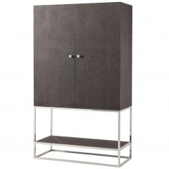 Theodore Alexander Drinks Cabinet - Shagreen Embossed Leather