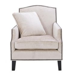 Eichholtz Armchair Merlin Studded Upholstered in Off-White