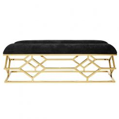 Eichholtz Bench Trellis with Velvet Black Seat