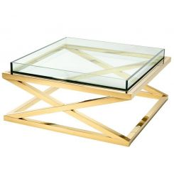 Eichholtz Coffee Table Curtis in Glass with Steel X-Leg