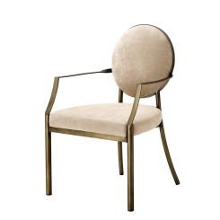 Eichholtz Dining Chair with Arm Scribe Curved Back Upholstered