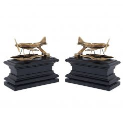 Eichholtz Pair Of Hydroplane Bookends In Brass