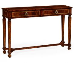 Jonathan Charles Console Table with Drawers French Empire in Mahogany