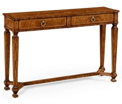 Jonathan Charles Console Table with Drawers French Empire in Walnut