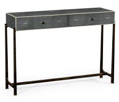 Jonathan Charles Console Table 1930s in Anthracite Faux Shagreen