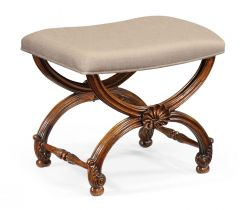 Jonathan Charles Stool with Scallop Shell in Walnut - Mazo