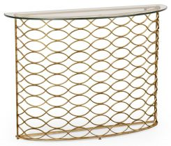 Jonathan Charles Demilune Console Table Interlaced