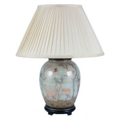 Pacific Lifestyle Jenny Worrall Deer Oval Table Lamp With Shade - Medium