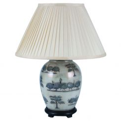 Pacific Lifestyle Jenny Worrall Guinea Fowl Oval Table Lamp With Shade - Medium