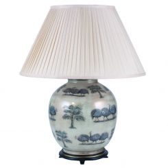 Pacific Lifestyle Jenny Worrall Guinea Fowl Round Table Lamp With Shade - Large