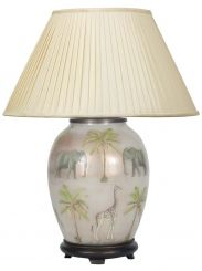 Pacific Lifestyle Jenny Worrall Safari Oval Table Lamp With Shade - Medium