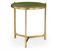 Jonathan Charles Large Round Lamp Table Contemporary in Green Faux Shagreen