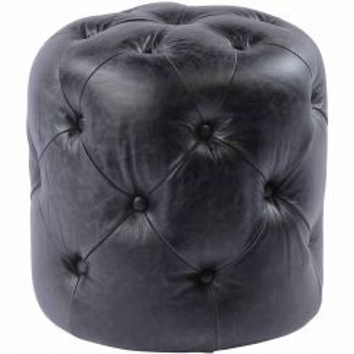 Libra Antique Black Top Grain Leather Button Stool