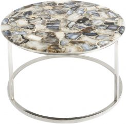 Libra Coffee Table Agate Round On Nickel Frame