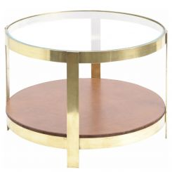 Libra Coffee Table Morton Round With Glass Top And Leather Shelf