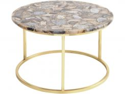 Libra Coffee Table Round Agate Stone Top with Brass Frame