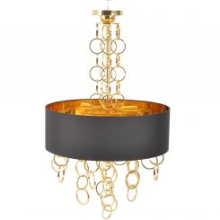 Libra Links Electroplated Gold Chandelier With Black Shade E14 40w