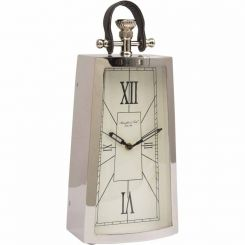 Libra Mantel Clock in Nickel and Black Leather Handle