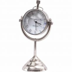 Libra Mini Nickel Globe Paperweight Mantel Clock