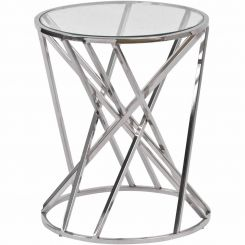 Libra Nickel Twist Round Side Table with Glass Top