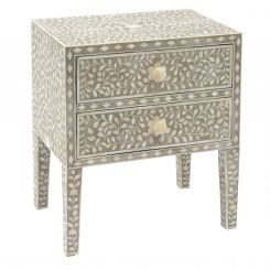 Libra Side Cabinet Petals Grey Bone Inlaid