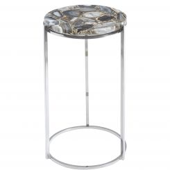 Libra Agate Round Side Tables Nickel Frame