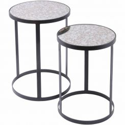 Libra Side Tables With Antique Glass Set of 2
