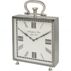 Libra Table Clock Miro Square Satin Grey And Nickel