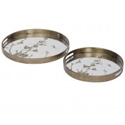 Libra Trays Decorative Blossom Antique Gold Set Of 2