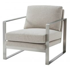 TA Studio Club Chair Bower in Matrix Marble with Nickel Leg