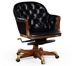 Jonathan Charles Office Chair Chesterfield in Walnut