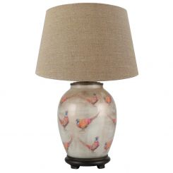 Pacific Lifestyle Table Lamp Medium Oval Pheasant with Shade by Jenny Worrall