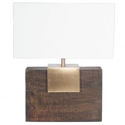 Pacific Lifestyle Table Lamp Wood/brass With Shade